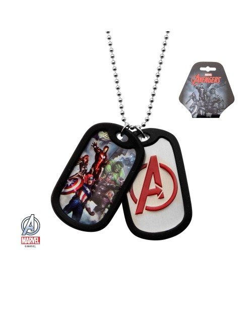 MARVEL COMICS - AVENGERS ASSEMBLE / SYMBOL DOG TAG PENDANT WITH CHAIN NECKLACE
