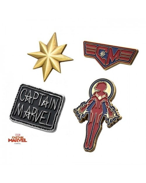 MARVEL COMICS CAPTAIN AMERICA 4 PIECE METAL PIN BADGE