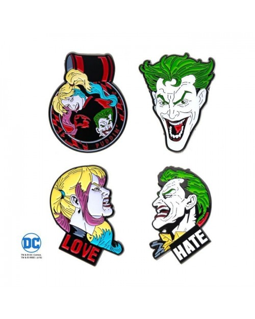DC COMICS THE JOKER AND HARLEY QUINN 4 PIECE METAL PIN BADGE