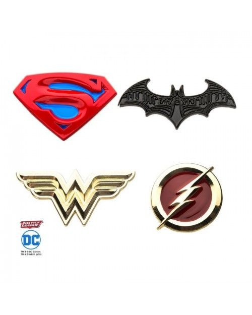DC COMICS JUSTICE LEAGUE SYMBOLS 4 PIECE METAL PIN BADGE