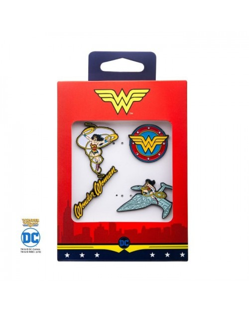 DC COMICS WONDER WOMAN SYMBOL 4 PIECE METAL PIN BADGE