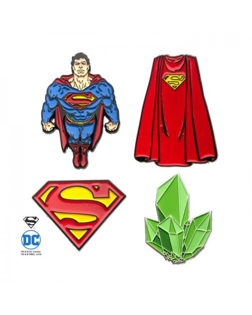 DC COMICS SUPERMAN 4 PIECE METAL PIN BADGE