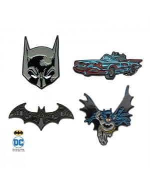 DC COMICS BATMAN 4 PIECE METAL PIN BADGE