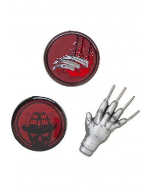 A NIGHTMARE ON ELM STREE GLOVE CLAW SET OF 3 METAL PIN BADGE
