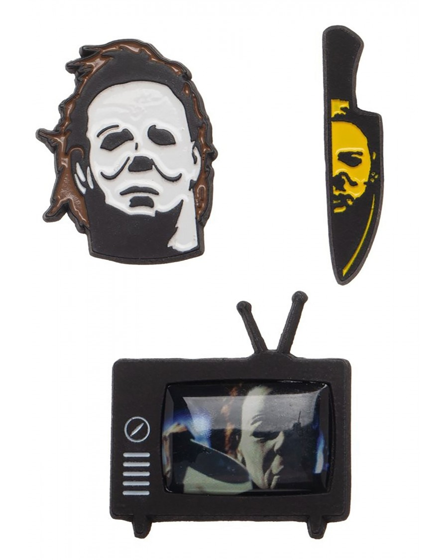 HALLOWEEN THE CURSE OF MICHAEL MYERS SET OF 3 METAL PIN BADGE