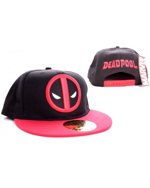 AWESOME MARVEL'S DEADPOOL SYMBOL BLACK AND RED SNAPBACK CAP