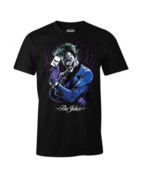 OFFICIAL DC COMICS THE JOKER LINE ART PRINT BLACK T-SHIRT