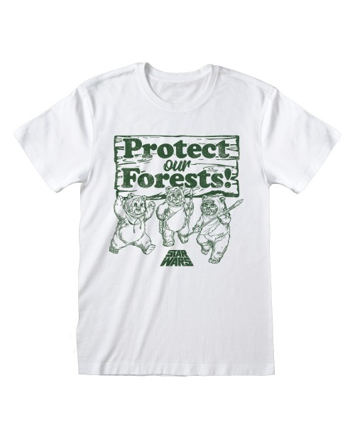 OFFICIAL STAR WARS EWOKS PROTECT OUR FORESTS! PRINT WHITE T-SHIRT