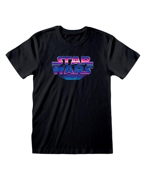 OFFICIAL STAR WARS 80'S LOGO BLACK T-SHIRT