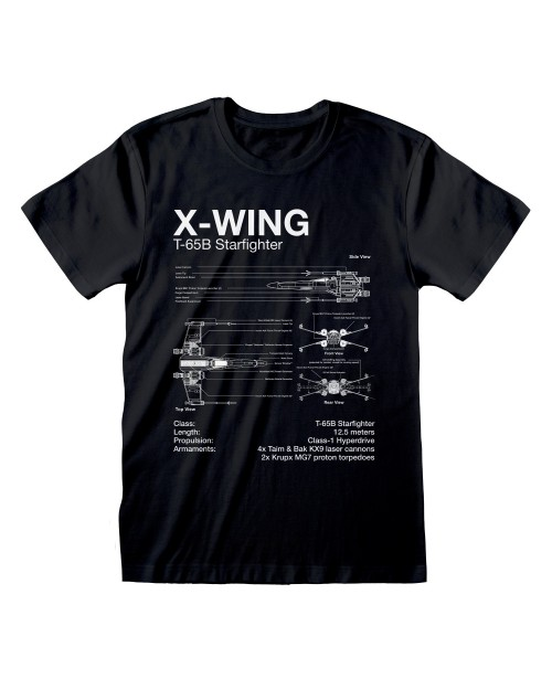 OFFICIAL STAR WARS X-WING STARFIGHTER PLANS PRINT BLACK T-SHIRT