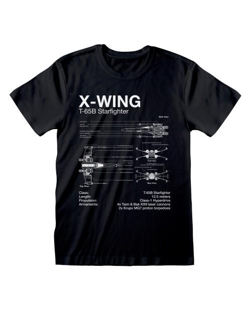 OFFICIAL STAR WARS X-WING STARFIGHTER PLANS PRINT BLACK T-SHIRT