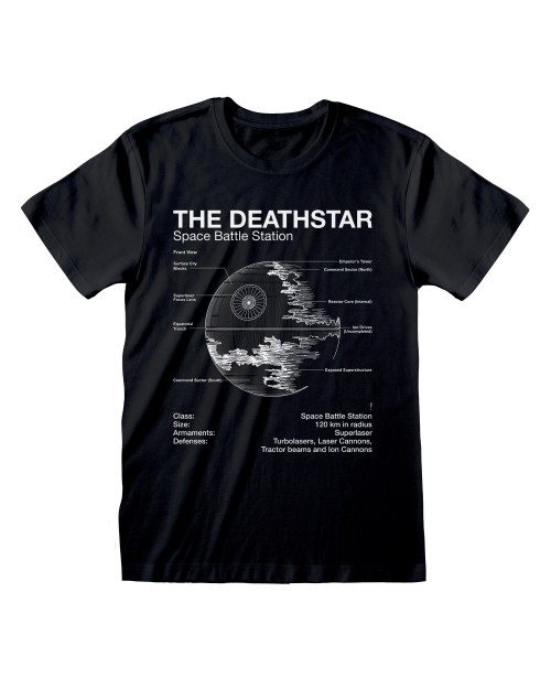 OFFICIAL STAR WARS XDEATHSTAR BATTLE STATION PLANS PRINT BLACK T-SHIRT