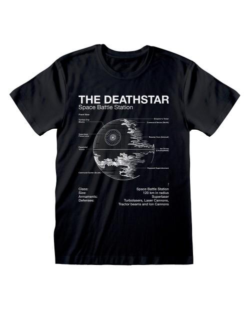 OFFICIAL STAR WARS XDEATHSTAR BATTLE STATION PLANS PRINT BLACK T-SHIRT