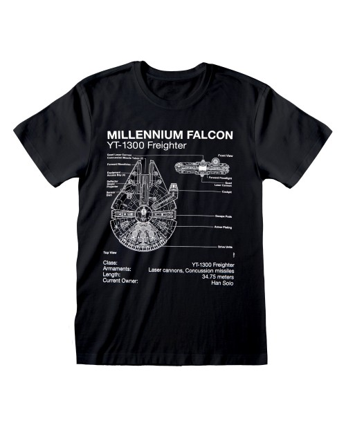OFFICIAL STAR WARS MILLENNIUM FALCON FREIGHTER PLANS PRINT BLACK T-SHIRT