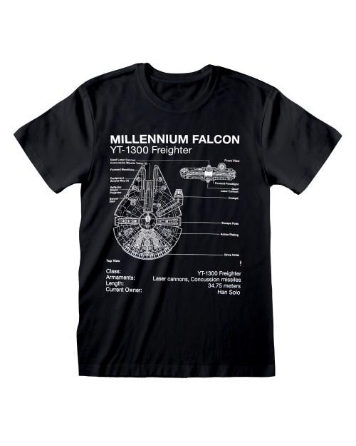 OFFICIAL STAR WARS MILLENNIUM FALCON FREIGHTER PLANS PRINT BLACK T-SHIRT