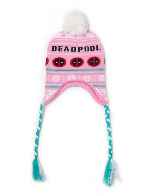 OFFICIAL MARVEL COMICS DEADPOOL SYMBOL PINK LAPLANDER BEANIE