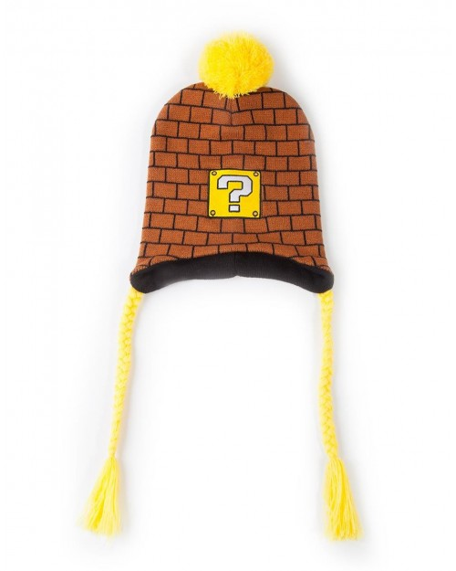 OFFICIAL NINTENDO SUPER MARIO BROS QUESTION MARK BRICKS LAPLANDER BEANIE