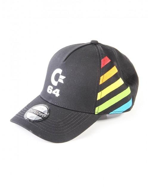 COMMODORE 64 LOGO EMBROIDERED BLACK STRAPBACK BASEBALL CAP