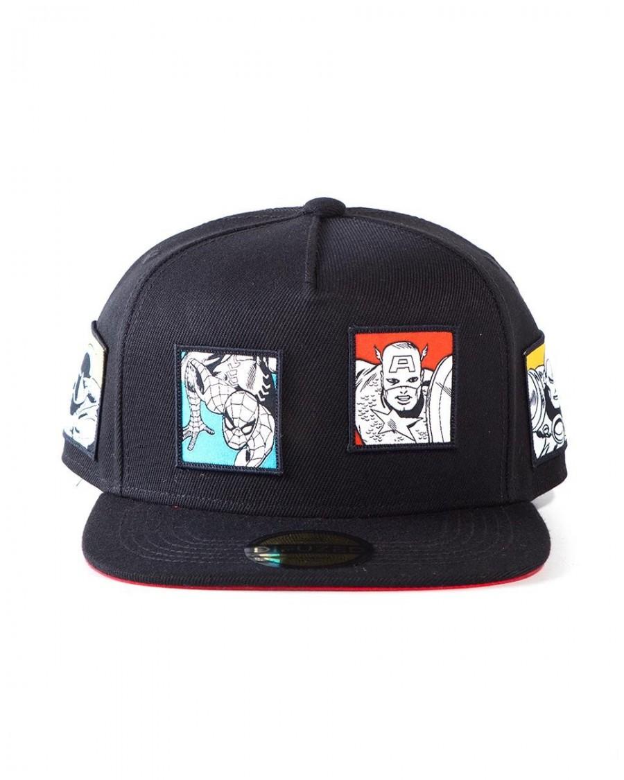 OFFICIAL MARVEL COMICS RETRO STAMPS BLACK SNAPBACK CAP