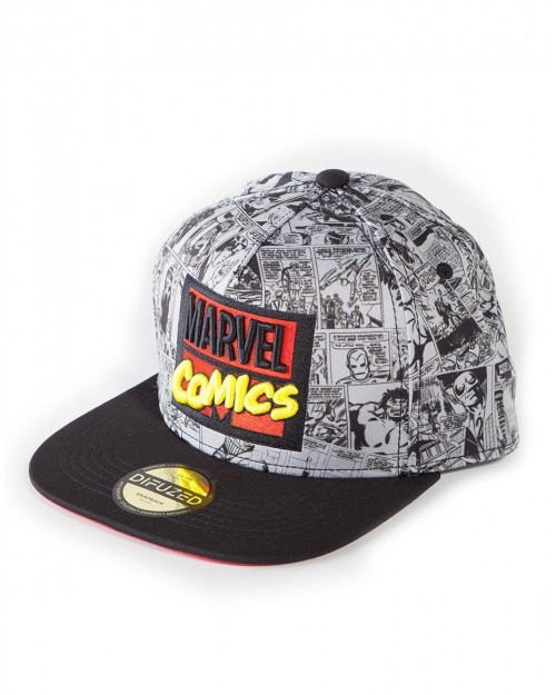 OFFICIAL MARVEL COMICS RETRO LOGO ALL OVER BLACK AND WHITE PRINT SNAPBACK CAP