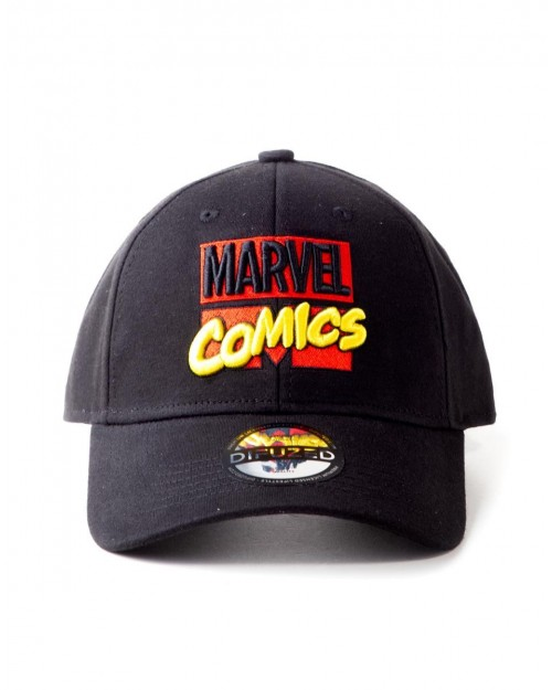OFFICIAL MARVEL COMICS 3D RETRO LOGO BLACK STRAPBACK BASEBALL CAP
