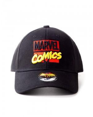 OFFICIAL MARVEL COMICS 3D RETRO LOGO BLACK STRAPBACK BASEBALL CAP