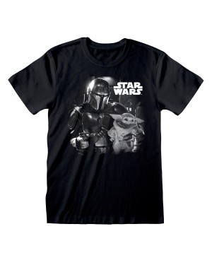 STAR WARS THE MANDALORIAN BABY YODA BLACK AND WHITE PRINT BLACK T-SHIRT