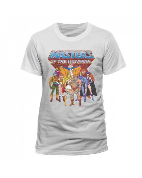OFFICIAL MASTERS OF THE UNIVERSE HE-MAN GROUP PRINT WHITE T-SHIRT
