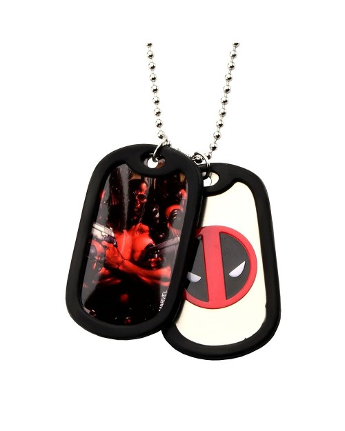 MARVEL COMICS - DEADPOOL SYMBOL DOG TAG PENDANT WITH CHAIN NECKLACE