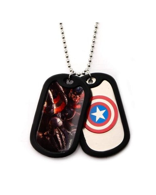 MARVEL COMICS - CAPTAIN AMERICA SYMBOL DOG TAG PENDANT WITH CHAIN NECKLACE