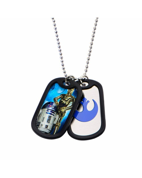 STAR WARS - C-3PO & R2-D2 DOG TAG PENDANT WITH CHAIN NECKLACE