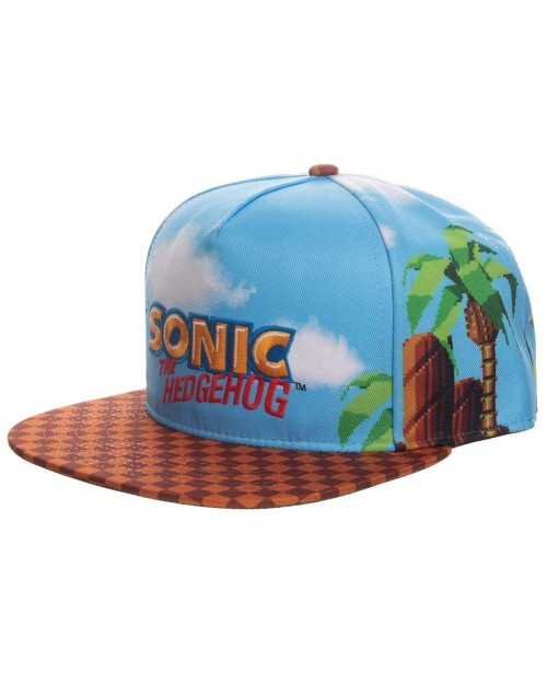 OFFICIAL SONIC THE HEDGEHOG LOGO GAME SCENE ALL OVER PRINT SNAPBACK CAP