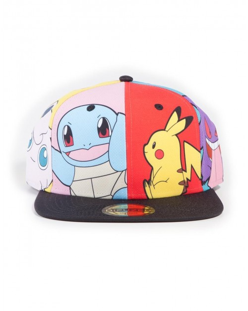 OFFICIAL NINTENDO POKEMON PIKACHU SQUIRTLE GENGAR POP ART ALL OVER PRINT SNAPBACK CAP