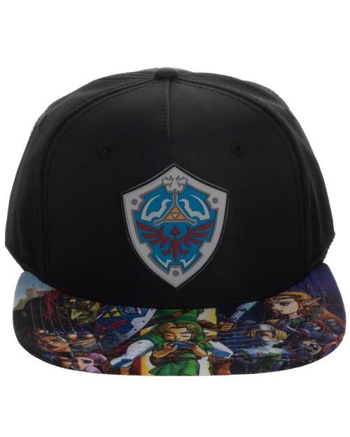 OFFICIAL THE LEGEND OF ZELDA HYLIAN SHIELD/ PRINTED VISOR BLACK SNAPBACK CAP