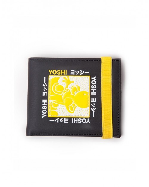 OFFICIAL NINTENDO SUPER MARIO BROS - YOSHI JAPANESE TEXT YELLOW AND BLACK WALLET