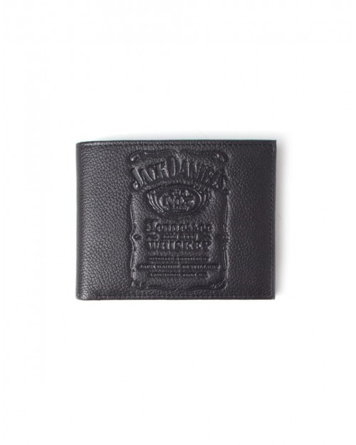 OFFICIAL JACK DANIELS LABEL DEBOSSING BLACK LEATHER BI-FOLD WALLET