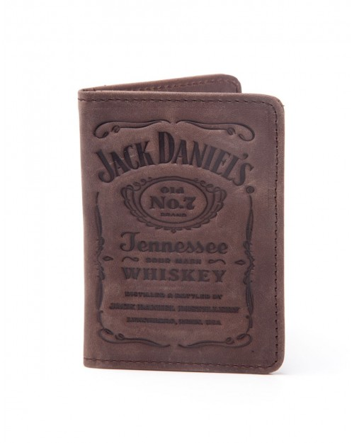 OFFICIAL JACK DANIELS LABEL DEBOSSING DARK TAN BROWN LEATHER BI-FOLD WALLET/ CARD HOLDER