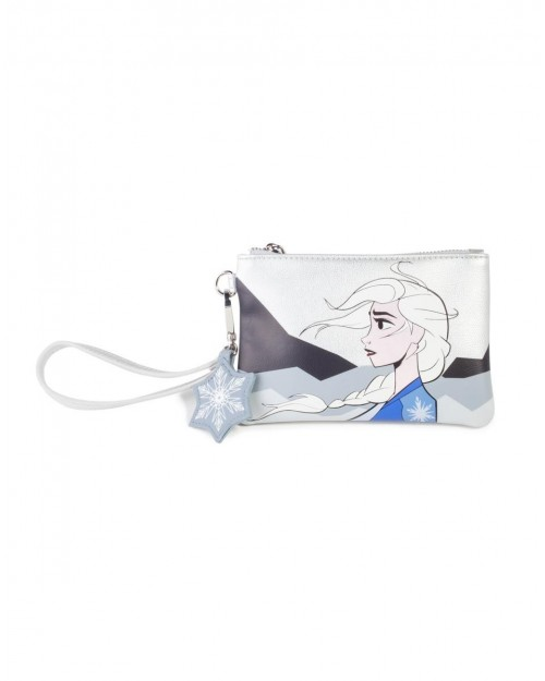 OFFICIAL DISNEY FROZEN 2 ELSA ICE PRINT SILVER CLUTCH COIN PURSE POUCH