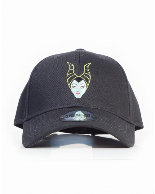 DISNEY MALEFICENT FACE HORNS EMBROIDERED BLACK STRAPBACK BASEBALL CAP