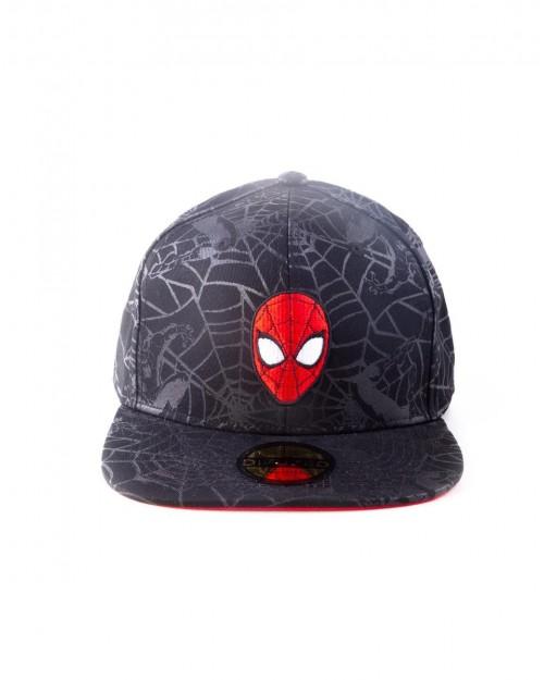 MARVEL COMICS SPIDER-MAN MASK ALL OVER WEBBED PRINT BLACK SNAPBACK CAP