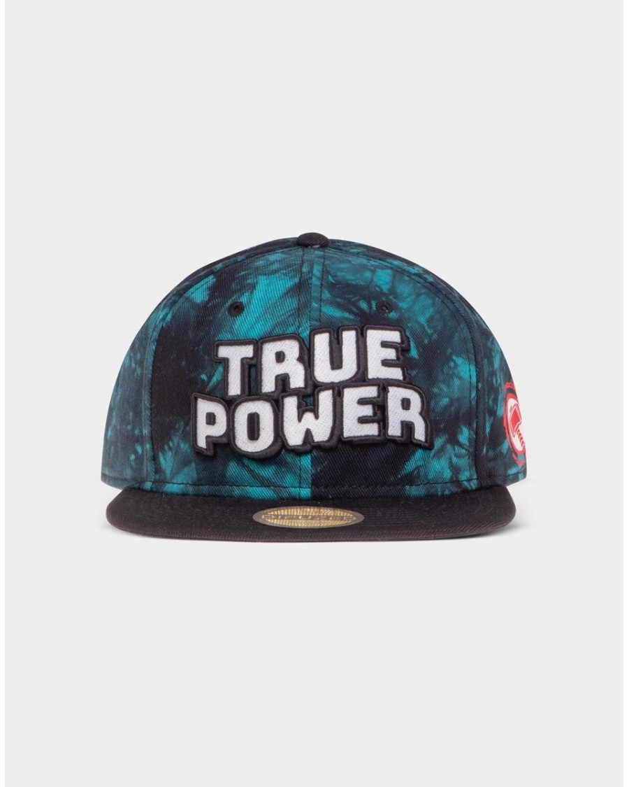 MARVEL COMICS TRUE POWER THOR CHOOSE WORTHINESS BLUE TYE DYE SNAPBACK CAP