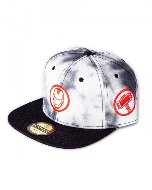MARVEL COMICS AVENGERED SYMBOLS BLACK AND WHITE TYE DYE SNAPBACK CAP