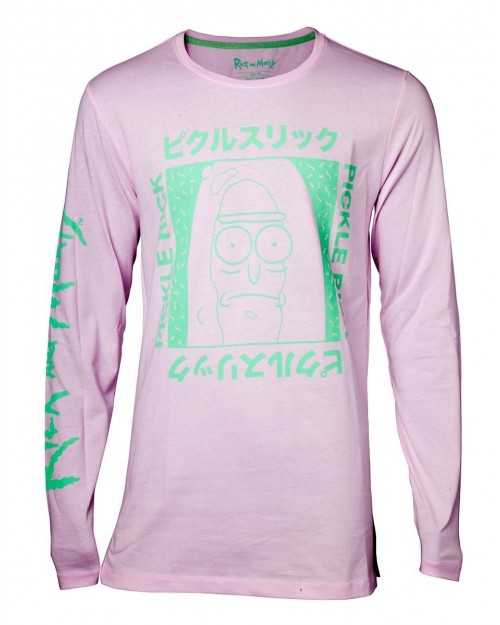 RICK AND MORTY DOODLE 'AHHHHHHH' LONG SLEEVE MENS BLACK T-SHIRT