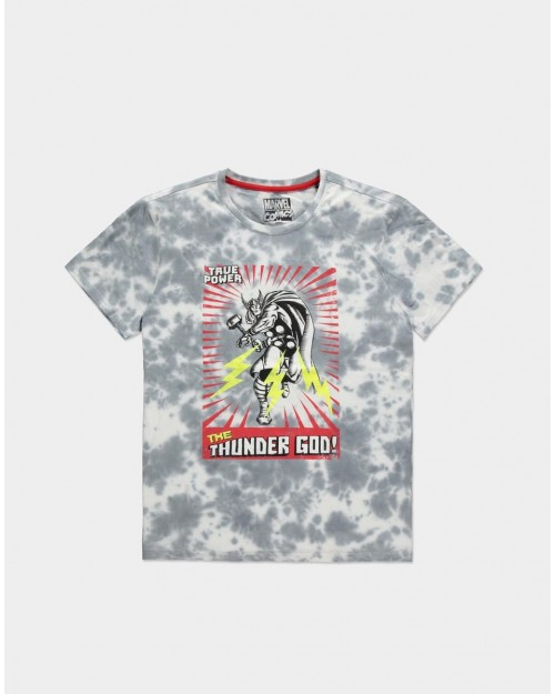 MARVEL COMICS THE MIGHTY THOR THE THUNDER GOD GREY AND WHITE TIE DYE T-SHIRT