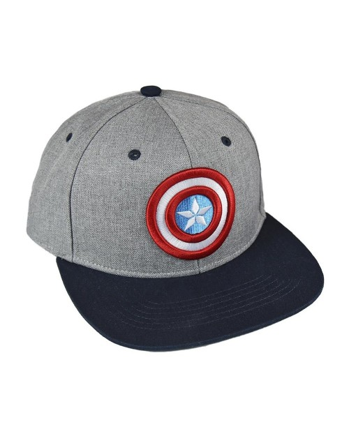 MARVEL COMICS CAPTAIN AMERICA SHIELD EMBROIDERY GREY SNAPBACK CAP