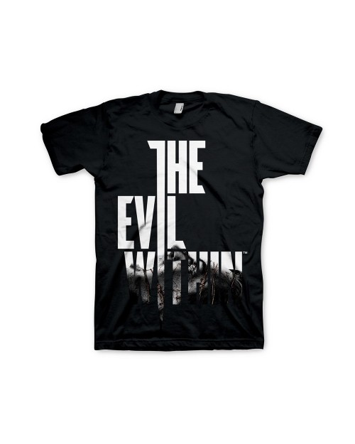 OFFICIAL BETHESDA THE EVIL WITHIN TEXT LOGO PRINT BLACK T-SHIRT