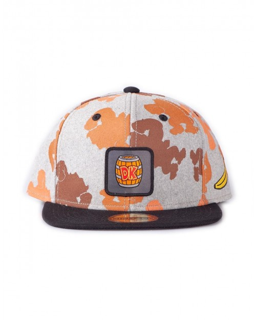 NINTENDO DONKEY KONG BARREL ALL OVER PRINT GREY SNAPBACK CAP