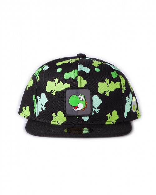 NINTENDO SUPER MARIO BROS YOSHI FACE ALL OVER PRINT GREY SNAPBACK CAP