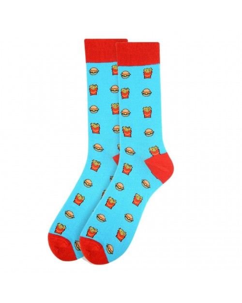 BURGER AND FRIES ALL OVER STYLE PAIR OF NOVELTY SOCKS
