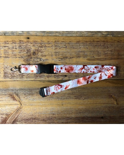 BLOOD SPLATTERED ALL OVER PRINT WHITE LANYARD BY TOTALLY TUBULAR